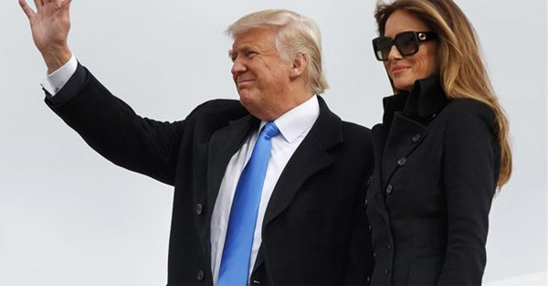 President-elect Donald Trump and wife Melania arrived in Washington, D.C., on eve of inauguration Jan. 19