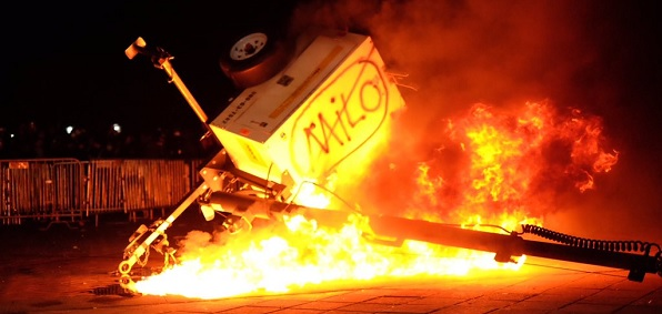 Violent protests ahead of a planned appearance at the University of California, Berkeley, in February by Milo Yiannopoulos