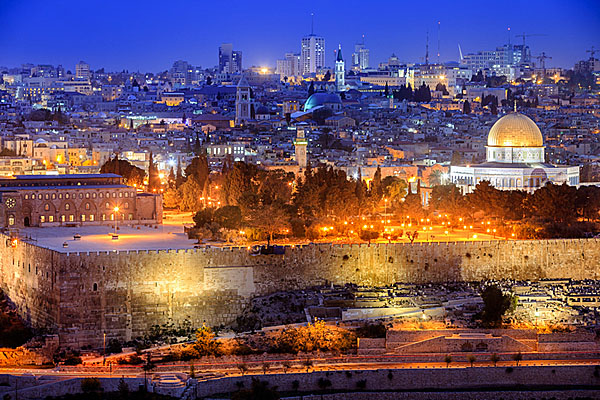 Jerusalem at dusk, view from the Olive Mountain