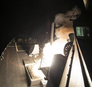 U.S. Navy guided-missile destroyer USS Ross (DDG 71) fires a Tomahawk land attack missile in Mediterranean Sea on April 7, 2017. (Photo: U.S. Navy)