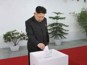 "Kim Jong-un ""voting."""