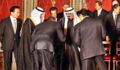 President Obama greets the King of Saudi Arabia in 2009.