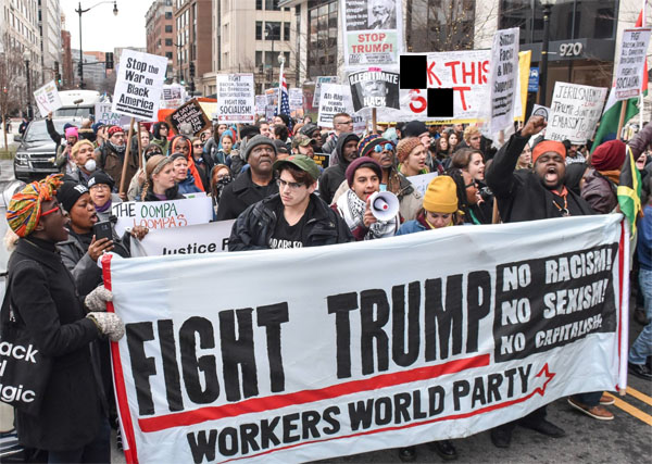 Workers World Party activists in Philadelphia protest against President Trump (Photo: Facebook/WWP, Philadelphia)