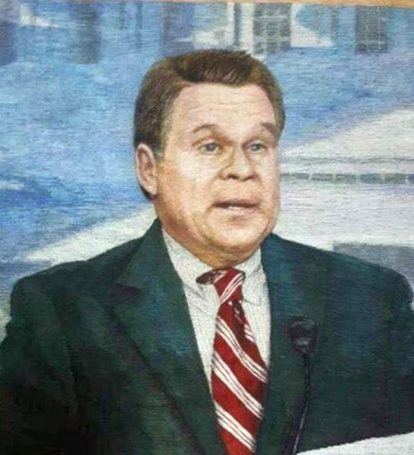 Embroidered portrait of Congressman Chris Smith by anonymous North Korean artists