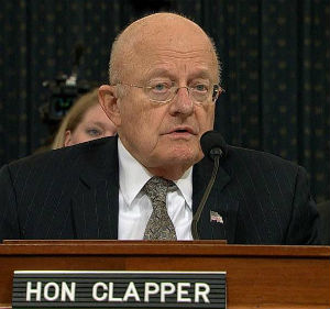James Clapper announcing his resignation at a House hearing in November 2016 (Screenshot NBC News video)