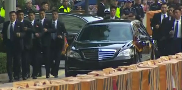 North Korean leader Kim Jong Un arrives in Singapore June 11, 2018, for his summit with President Trump (Video screenshot)