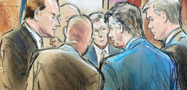 A court artist depicts lawyers for special counsel Robert Mueller and for former Trump campaign manager Paul Manafort conferring Friday with federal court Judge T.S. Ellis III