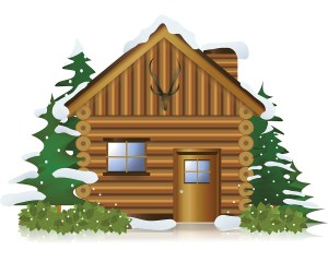 Cottage in the middle of snow forest create by vector