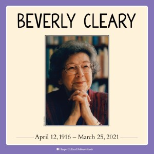 Beverly Cleary with hands together under her chin with books behind