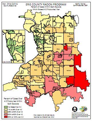 Erie County Radon Map - 2010