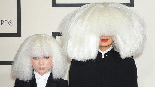 NO JUST JARED USAGE The 57th Annual GRAMMY Awards. **NO DAILY MAIL SALES** Pictured: Sia and Maddie Ref: SPL946660  090215   Picture by: Splash News Splash News and Pictures Los Angeles:310-821-2666 New York:	212-619-2666 London:	870-934-2666 photodesk@splashnews.com