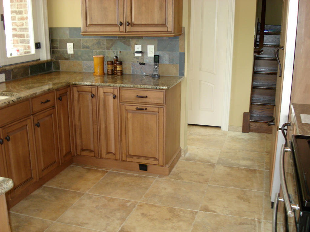 kitchen floor cabinets delta touchless faucet kitchens tiles