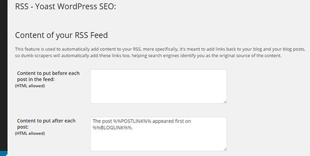 rss wordpress seo