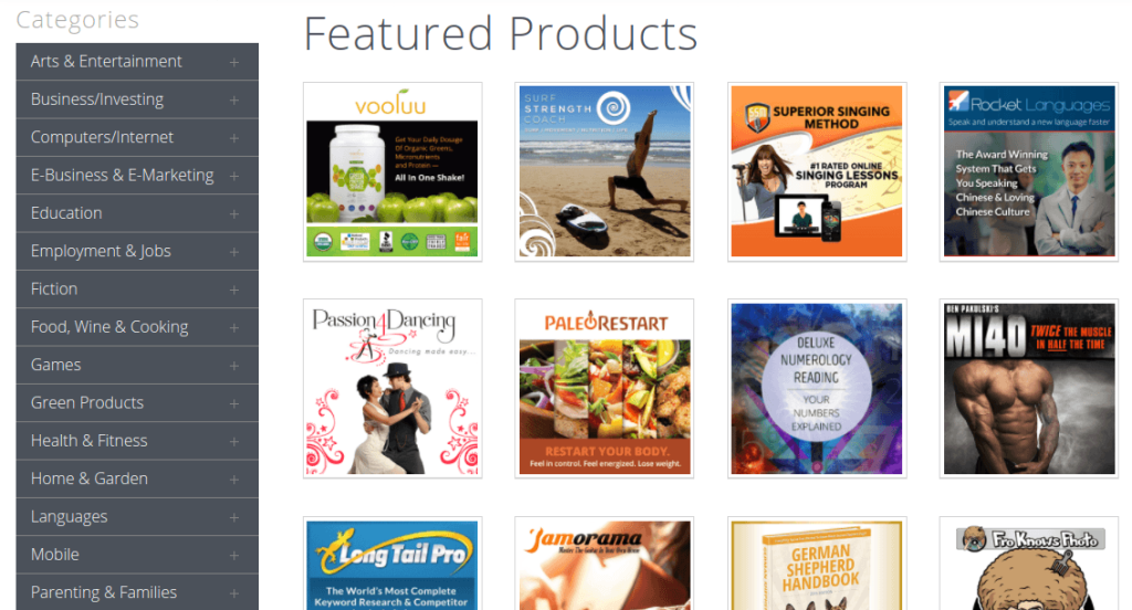 affiliate product categories clickbank first revenue of my blog