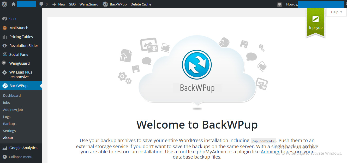 How To Backup Your WordPress Site Using BackWPup - Welcome Screen