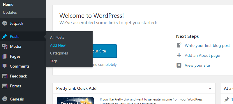 start a blog add new posts