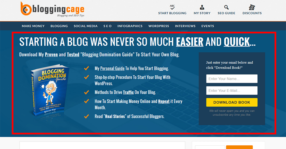 Blogging Cage Optin Feature Box