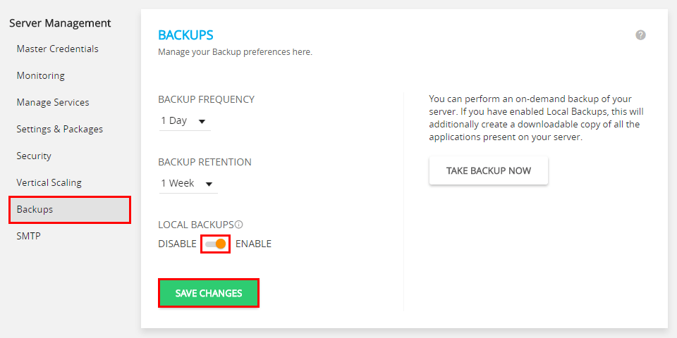 Automatic Backups cloudways