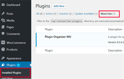 Plugin organizer must use