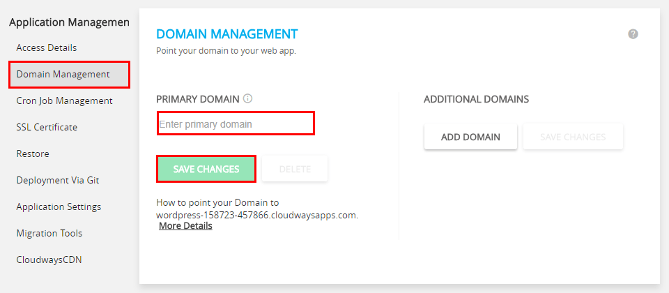 domain Management section