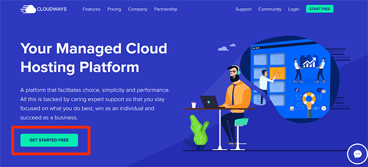cloudways home page get started free