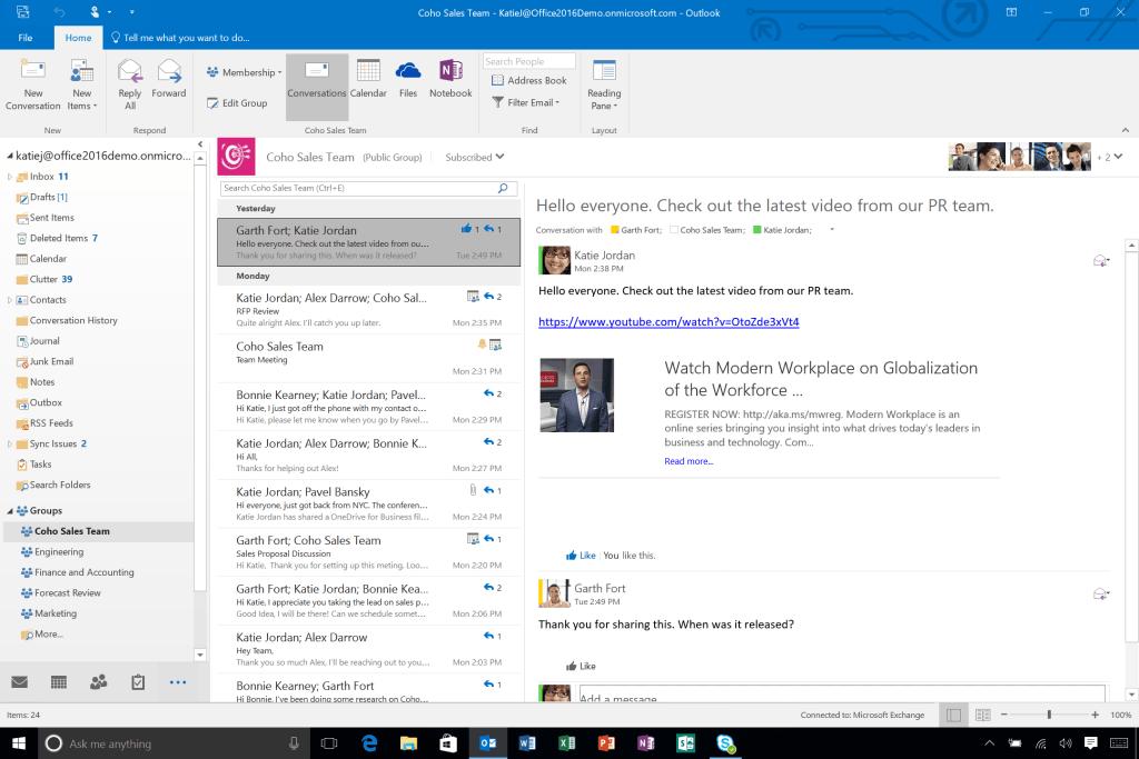 MS outlook desktop email client