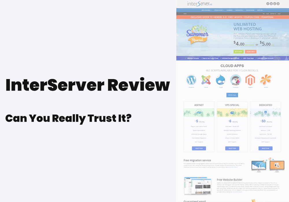 interserver review, hosting features and customer support
