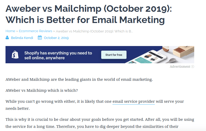 aweber vs mailchimp product comparission