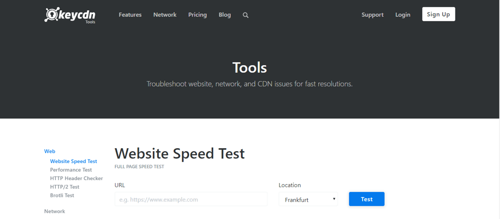 KeyCDN Website Speed Test