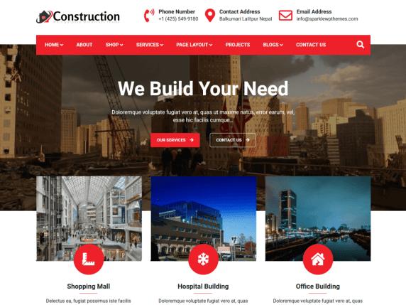 Construction Light a Free WordPress theme