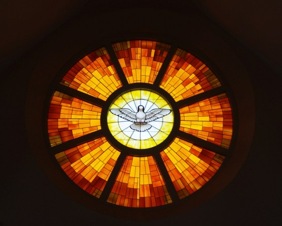 Holy Spirit dove image in stained glass window, Christ the King Catholic Church, Ann Arbor, MI, USA