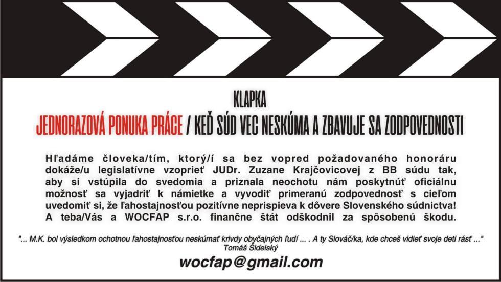 JUDr. Zuzana Krajčovicová vs WOCFAP s.r.o. - ponuka práce