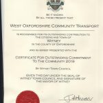 The certificate presented to WOCT in recognition of its Outstanding Contribution to Witney.