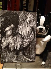 "ROOSTER2 | 2014 | pen and ink art card, 2.5"" x 3.5"""