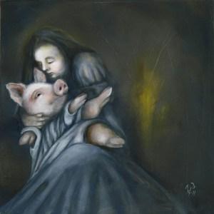 "DEVOTION | 2011 | oil on canvas, 15"" x 15"""