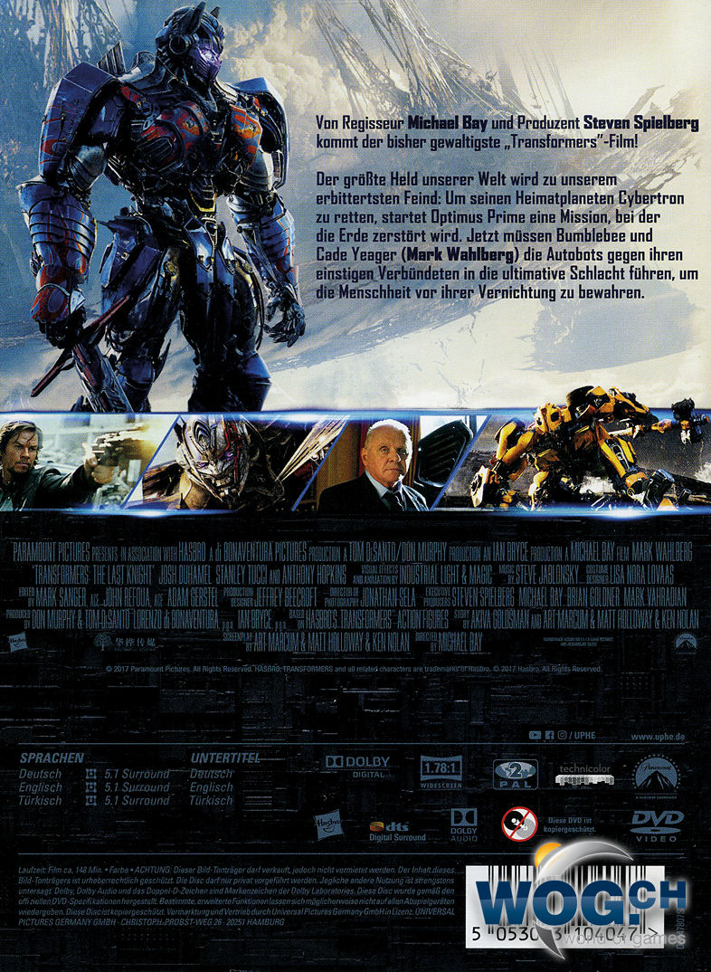 Transformers 5: The Last Knight [DVD Filme] • World of Games
