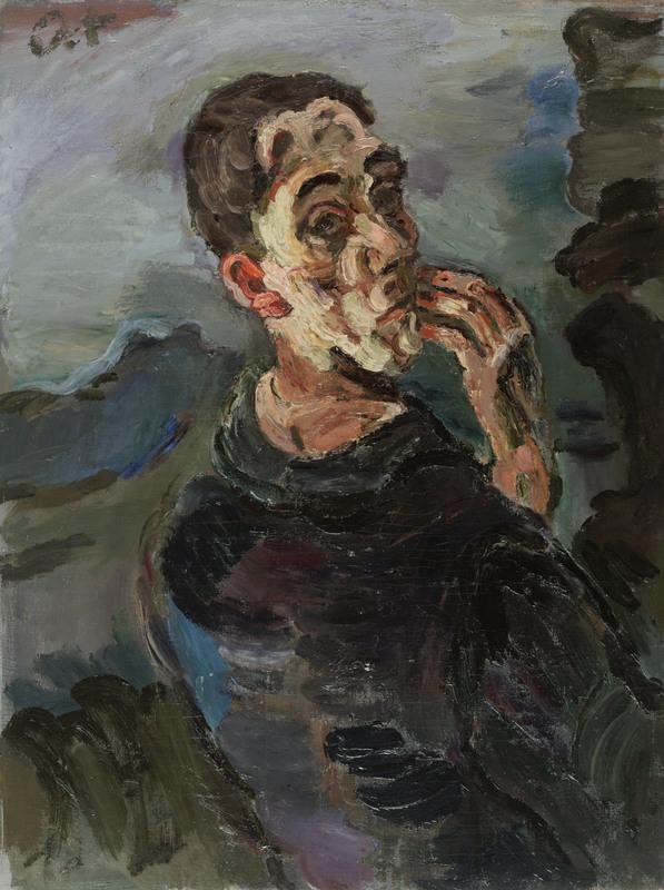 Selbstbildnis, eine Hand ans Gesicht gelegt, 1918/19 Öl auf Leinwand 83,6 × 62,7 cm Leopold Museum, Wien Foto: Leopold Museum, Wien/Manfred Thumberger © Fondation Oskar Kokoschka/Bildrecht Wien, 2019