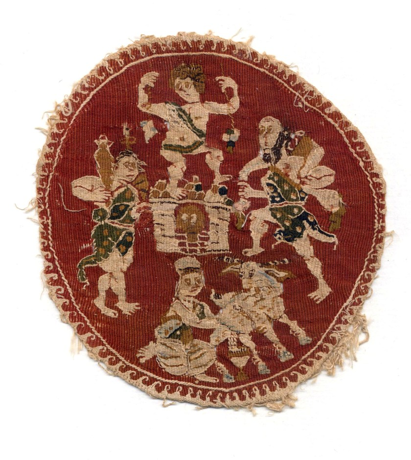 Textiles Medaillon mit Kelterszene; Textilbild Bastfaser (Leinen?), Wolle Ägypten, 4. – 5. Jh. n. Chr. – © Österreichische Nationalbibliothek