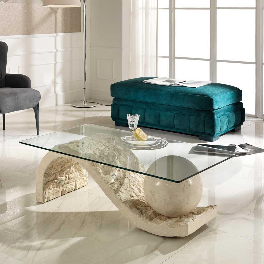 Design Couchtisch Glas Und Stein Creme French
