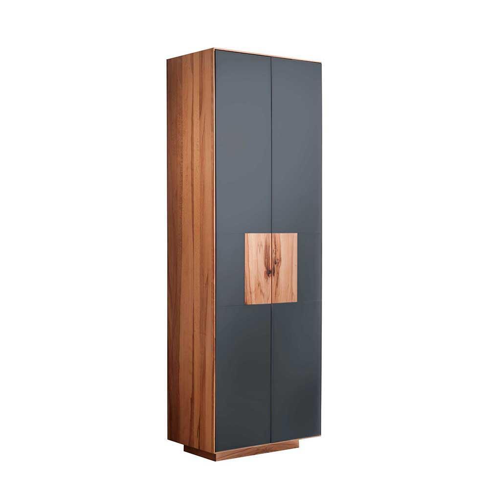 Design Garderobenschrank in Anthrazit Glas  Massivholz