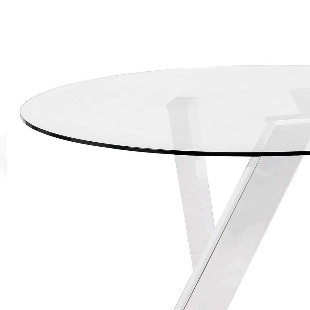Esszimmer Glastisch in Rund mit Metall Gestell Wei 120cm Elise  Wohnende