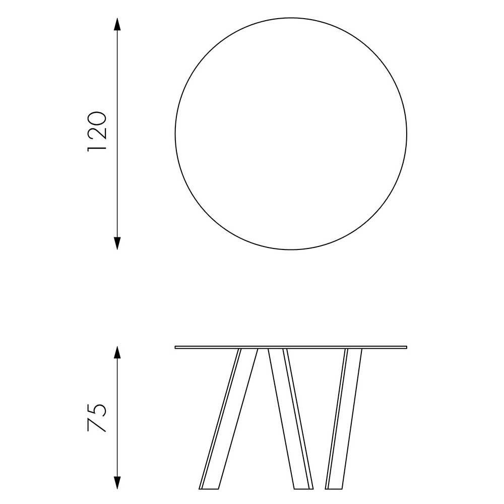 Esszimmer Glastisch in Rund mit Metall Gestell Weiß 120cm