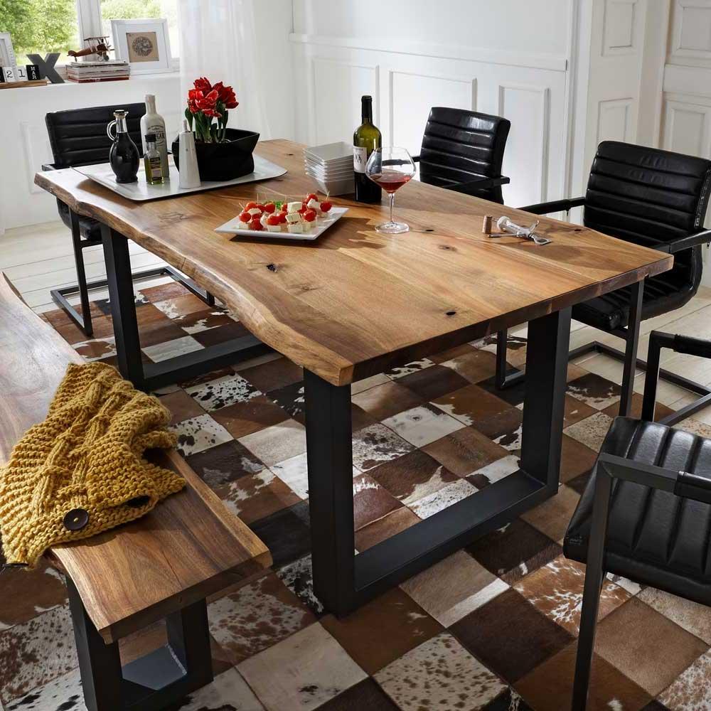 Esszimmertisch Jaslina mit Baumkante und Eisengestell