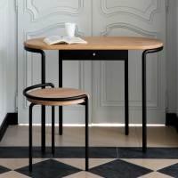 Exklusiver Schreibtisch & Hocker aus Stahl & Eichenholz ...