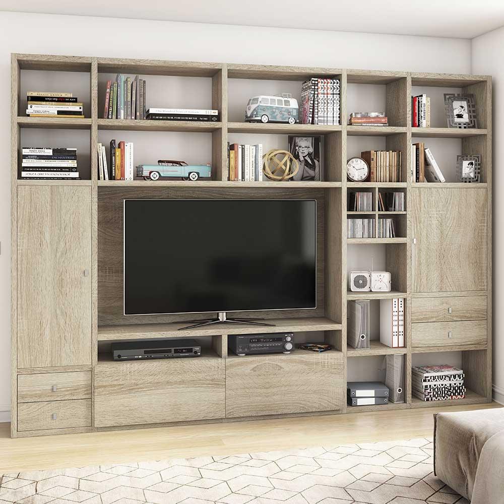 Funktionelles Wohnzimmer Regal fr Fernseher in Sonoma