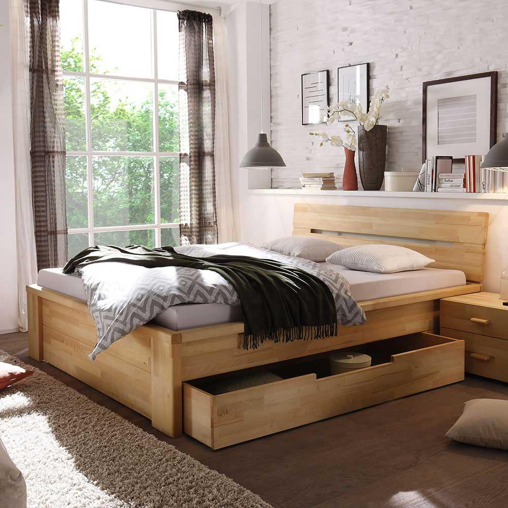 Massives Holzbett Vergoma mit Schubladen  Wohnende