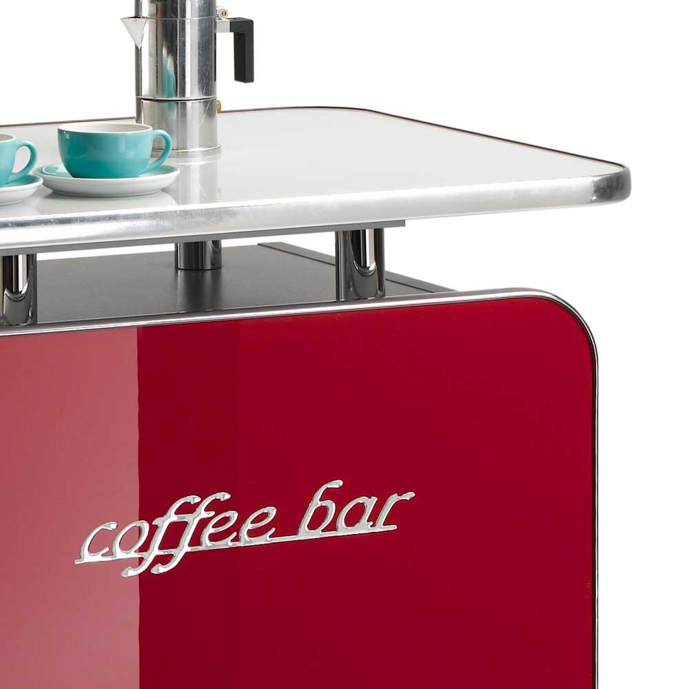 Rollbare Kaffeestation Lasacona in Rot Hochglanz  Wohnende