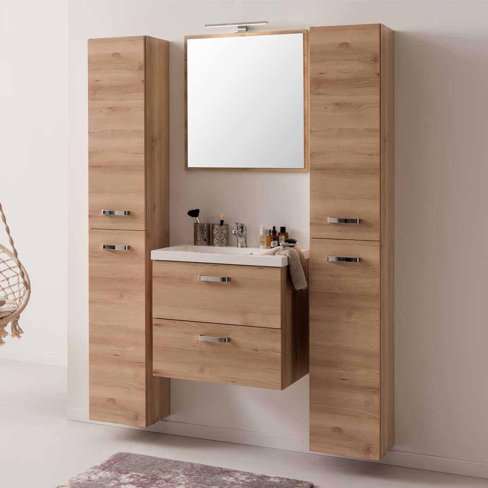 Komplett Badezimmer in Buche Dekor mit Waschtisch  Spiegel  2 Schrnke 120x180x39  Blanca 4tlg