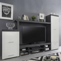 Moderne Wohnwand Kombi in Grau & Weiß   günstig bestellen ...