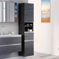 Moderner Bad Hochschrank in Eiche Grau   stehend oder ...